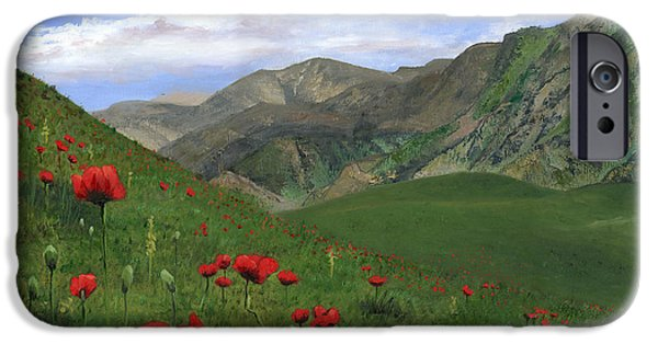 Sicily Paintings iPhone Cases - Big Red Mountain Poppies iPhone Case by Cecilia  Brendel