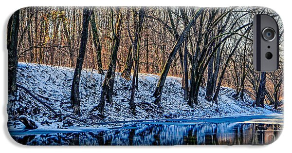Snow Scene iPhone Cases - Big River Winter Reflection iPhone Case by Peggy  Franz