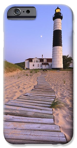 Paths iPhone Cases - Big Sable Point Lighthouse iPhone Case by Adam Romanowicz