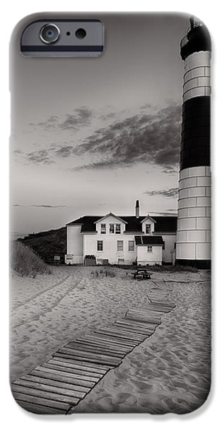 Sand iPhone Cases - Big Sable Point Lighthouse in Black and White iPhone Case by Sebastian Musial