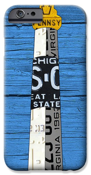 Big Mixed Media iPhone Cases - Big Sable Point Lighthouse Michigan Great Lakes License Plate Art iPhone Case by Design Turnpike