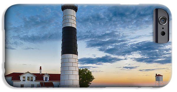 Lighthouse iPhone Cases - Big Sable Point Lighthouse Sunset iPhone Case by Sebastian Musial