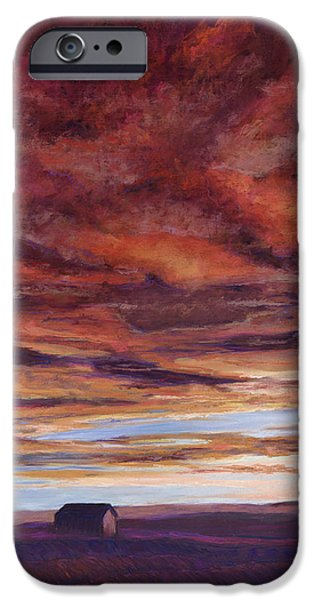 Barn Landscape Pastels iPhone Cases - Big Sky iPhone Case by Billie Colson