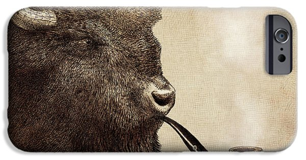 Animal Drawings iPhone Cases - Big Smoke iPhone Case by Eric Fan