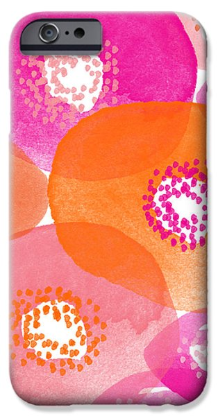 Card Mixed Media iPhone Cases - Big Spring Flowers- Contemporary watercolor painting iPhone Case by Linda Woods