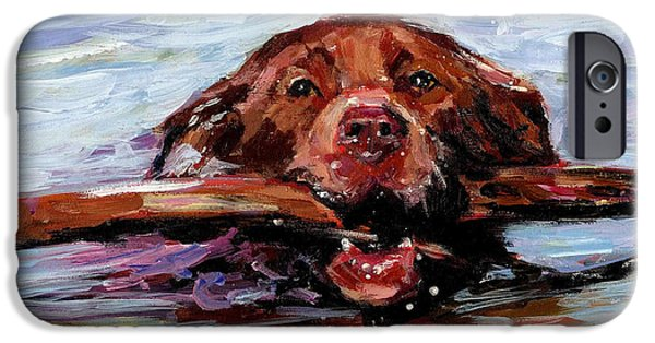 Chocolate Labrador Retriever Paintings iPhone Cases - Big Stick iPhone Case by Molly Poole