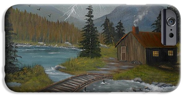 Cabin Window iPhone Cases - Big Storms a Comin iPhone Case by Sheri Keith