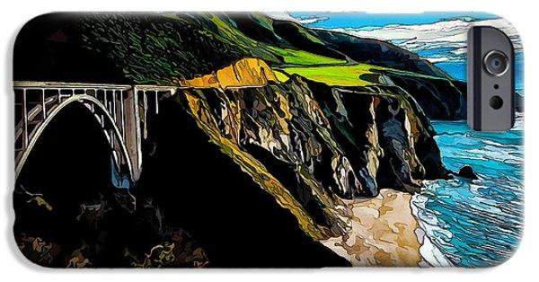 Coastal Decor Digital Art iPhone Cases - Big Sur Bridge iPhone Case by Bill Caldwell -        ABeautifulSky Photography