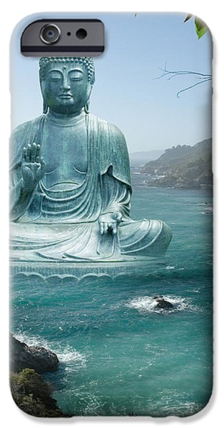 Big Sur Tea Garden Buddha iPhone Case by Alixandra Mullins