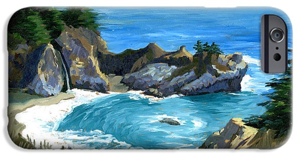 Big Sur Beach iPhone Cases - Big Sur Waterfall iPhone Case by Alice Leggett