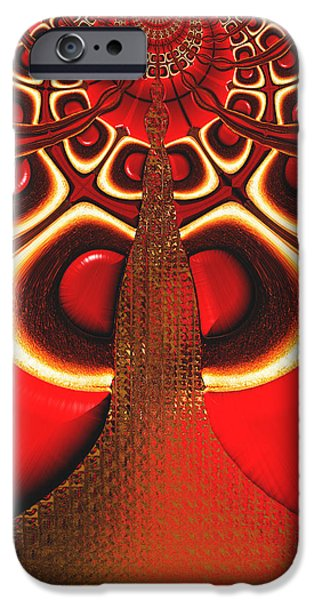 Modern Abstract iPhone Cases - Big Tree From The Red Forest iPhone Case by Wendy J St Christopher