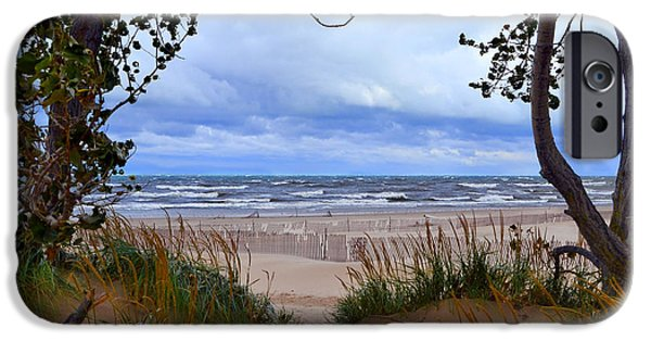 Michelle iPhone Cases - Big Waves on Lake Michigan 2.0 iPhone Case by Michelle Calkins