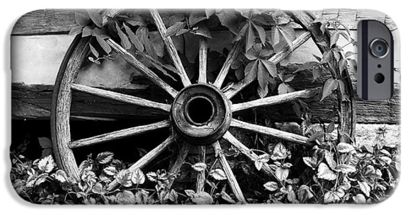 Log Cabin Art iPhone Cases - Big Wheel bw iPhone Case by Mel Steinhauer