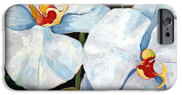 White Orchid iPhone Cases - Big White Orchids - Floral Art By Betty Cummings iPhone Case by Betty Cummings