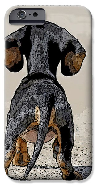Puppy Digital Art iPhone Cases - Big World iPhone Case by Judy Wood