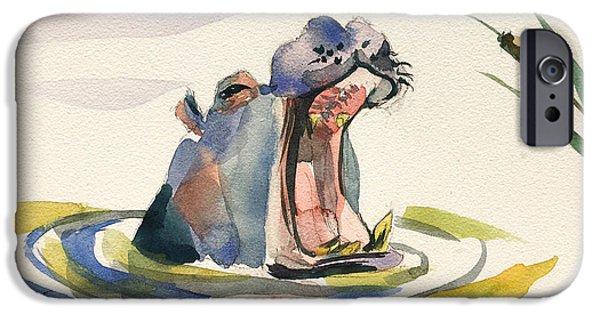Hippopotamus iPhone Cases - Big Yawn. iPhone Case by Ksenia VanderHoff