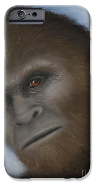 Science Fiction Pastels iPhone Cases - Bigfoot The Unexpected Encounter iPhone Case by Rebekah Sisk