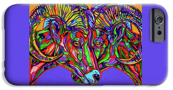 Vivid Colour Paintings iPhone Cases - Bighorn Sheep iPhone Case by Derrick Higgins