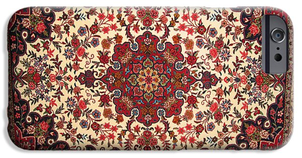 Photographs Tapestries - Textiles iPhone Cases - Bijar Red And Khaki Silk Carpet Persian Art iPhone Case by Persian Art