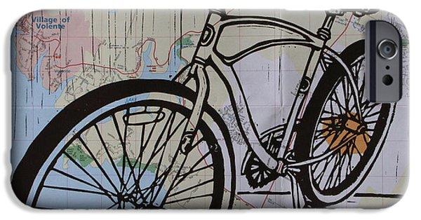 Lino Drawings iPhone Cases - Bike 6 on map iPhone Case by William Cauthern