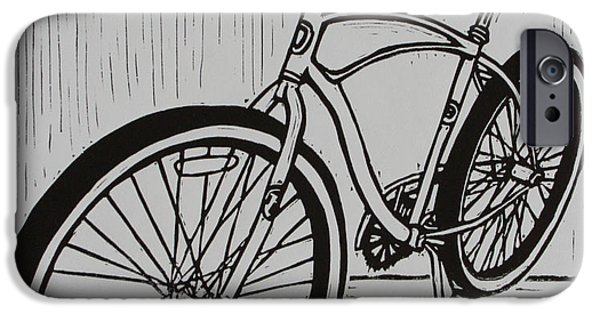 Lino Drawings iPhone Cases - Bike 6 iPhone Case by William Cauthern