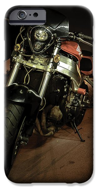Automotive Pyrography iPhone Cases - Bike at night iPhone Case by Alex Heath