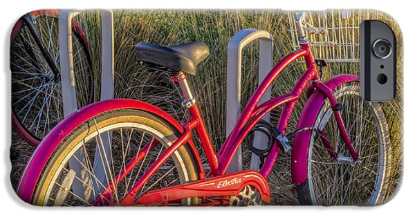 Fat Tire iPhone Cases - Bike at the Beach iPhone Case by Debra and Dave Vanderlaan