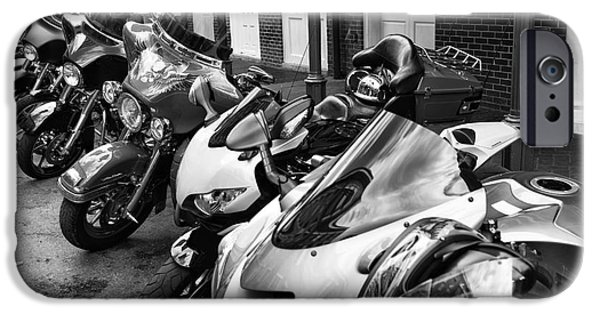 Monotone iPhone Cases - Bike Day in New Orleans mono iPhone Case by John Rizzuto