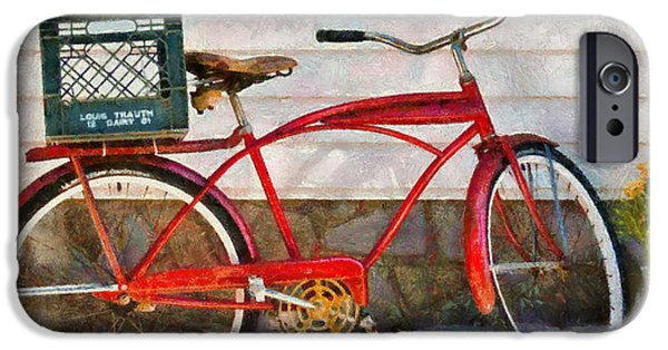 Suburbanscenes iPhone Cases - Bike - Delivery Bike iPhone Case by Mike Savad