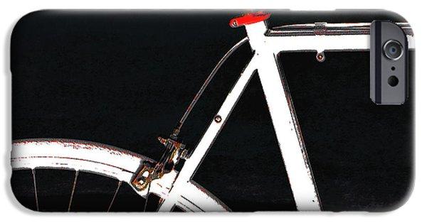 Raisa Gertsberg iPhone Cases - Bike In Black White And Red No 1 iPhone Case by Ben and Raisa Gertsberg