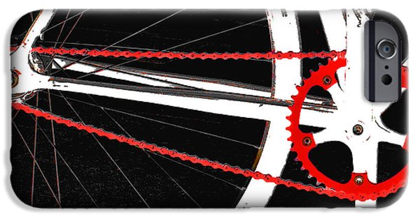 Abstraction iPhone Cases - Bike In Black White And Red No 2 iPhone Case by Ben and Raisa Gertsberg