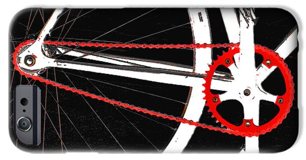 Abstract Digital Photographs iPhone Cases - Bike In Black White And Red No 2 iPhone Case by Ben and Raisa Gertsberg