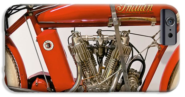 Mechanics Photographs iPhone Cases - Bike - Motorcycle - Indian Motorcycle engine iPhone Case by Mike Savad