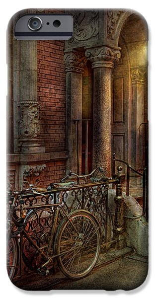 Bike - NY - Greenwich Village - In the village  iPhone Case by Mike Savad