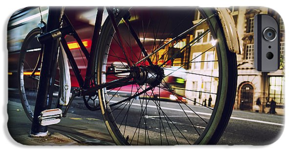 Cycle iPhone Cases - Bike on Whitehall Street iPhone Case by Joseph S Giacalone