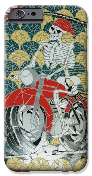 Transportation Ceramics iPhone Cases - Biker Dude iPhone Case by Pj Flagg Tongue in Chic