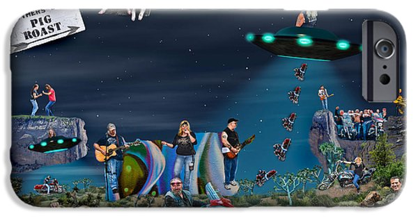Concept Art iPhone Cases - Biker Party Universe iPhone Case by Gary Keesler