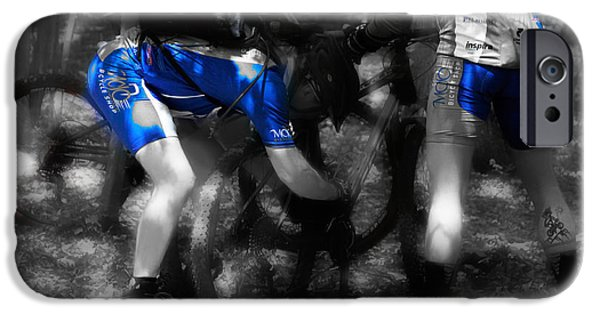 Male Athlete iPhone Cases - Biking Blues  iPhone Case by Steven  Digman
