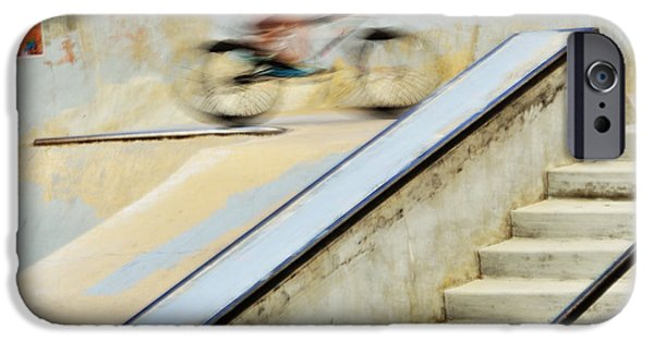 Skateboards iPhone Cases - Biking the Skateboard Park iPhone Case by Kae Cheatham