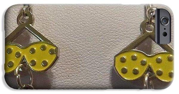 Yellow Jewelry iPhone Cases - Bikini Earrings  iPhone Case by Kimberly Johnson