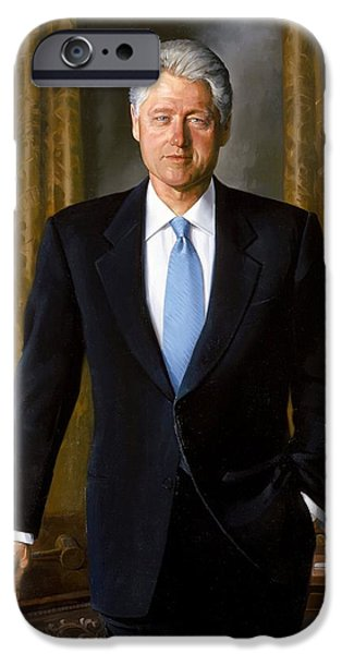 President iPhone Cases - Bill Clinton portrait iPhone Case by Tilen Hrovatic