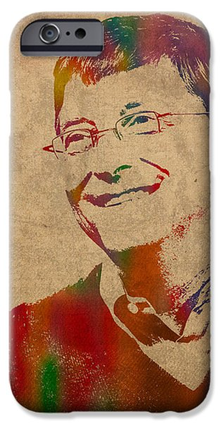 Computer Mixed Media iPhone Cases - Bill Gates Microsoft CEO Watercolor Portrait On Worn Distressed Canvas iPhone Case by Design Turnpike