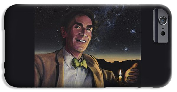Cosmos Paintings iPhone Cases - Bill Nye - A Candle in the Dark iPhone Case by Simon Kregar