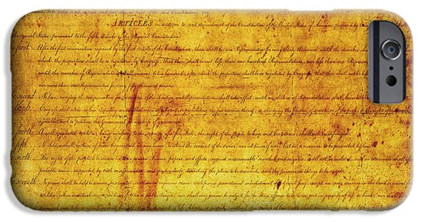 Constitution iPhone Cases - Bill of RIGHTS iPhone Case by Daniel Hagerman