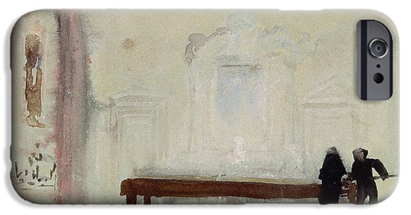 Pastimes iPhone Cases - Billiard players at Petworth House iPhone Case by Joseph Mallord William Turner
