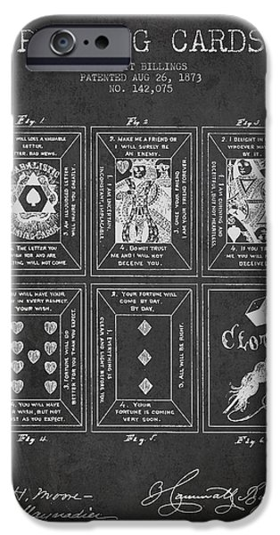 Playing Cards iPhone Cases - Billings Playing Cards Patent Drawing From 1873 - Dark iPhone Case by Aged Pixel