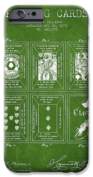 Cards Vintage iPhone Cases - Billings Playing Cards Patent Drawing From 1873 - Green iPhone Case by Aged Pixel