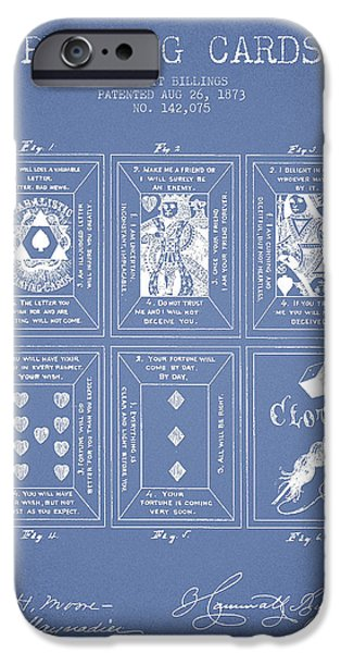 Cards Vintage iPhone Cases - Billings Playing Cards Patent Drawing From 1873 - Light Blue iPhone Case by Aged Pixel