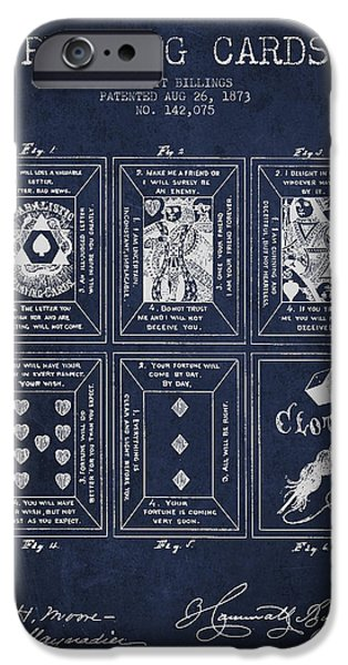 Gambling iPhone Cases - Billings Playing Cards Patent Drawing From 1873 - Navy Blue iPhone Case by Aged Pixel