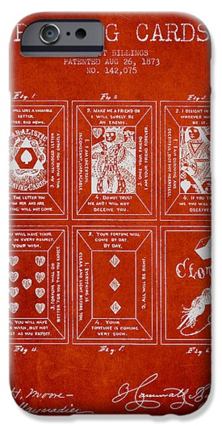Playing Cards iPhone Cases - Billings Playing Cards Patent Drawing From 1873 - Red iPhone Case by Aged Pixel